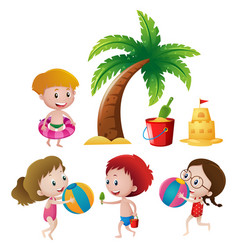 boys and girls playing on beach vector image