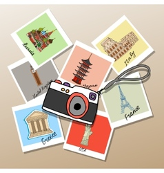 Camera with photographs of global landmarks vector image vector image