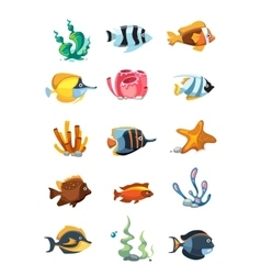 cartoon aquarium decor objects underwater vector image vector image