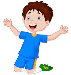 Children celebrate his goal vector image vector image