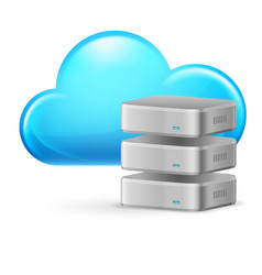 Cloud computing and remote database on white vector