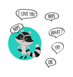 Cute little raccoon character with nope word in vector