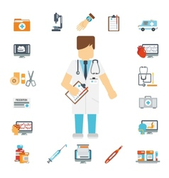 Doctor set flat vector