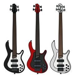 Electric bass guitars vector image