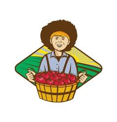 Farmer boy straw hat tomato harvest vector
