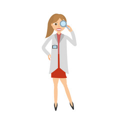 Female doctor coat and loupe vector