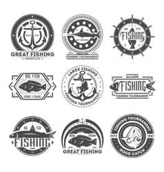 Fishing tournament vintage isolated label set vector image