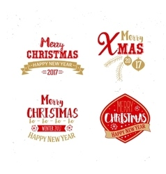 Golden and red colors for xmas typography vector