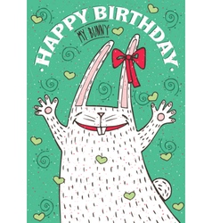 Happy birthday my bunny with white rabbit vector