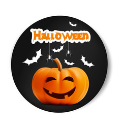 happy halloween black sticker font pumpkin vector image