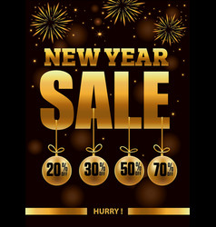 New year sale banner with fireworks vector
