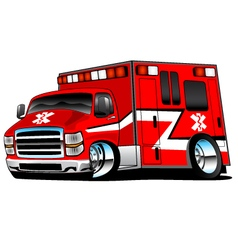 Red paramedic ambulance rescue truck vector