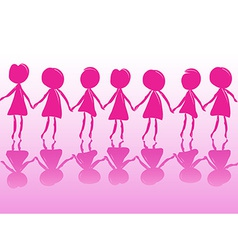 Row of women holding hands vector