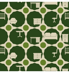 seamless background with furniture vector image
