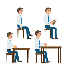Seating office worker templates set vector