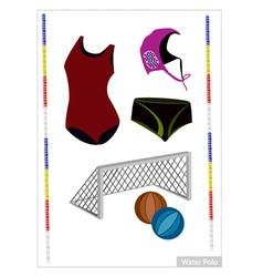 Set of water polo equipment on white background vector