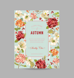 Vintage autumn and summer floral invitation vector