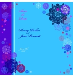 Winter wedding frame with cyan and blue snowflakes vector