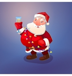 Santa with wine glass vector