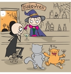 Halloween party witch bartender pours vampire vector