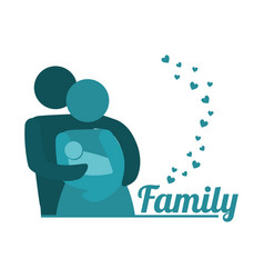 Lovely family parents carriage baby together vector
