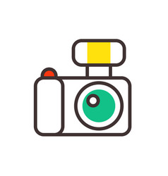 Photo camera reflection movie instrument on vector