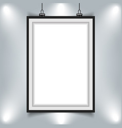 Modern picture frame hanging on wall with vector