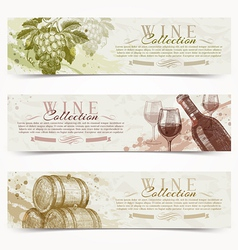 Wine and winemaking grunge vintage banners vector