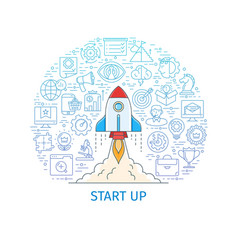 Start up business project banner vector