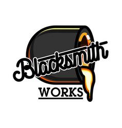 Color vintage blacksmith emblem vector