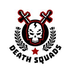 logo death squad swords cross skull and wreath vector image