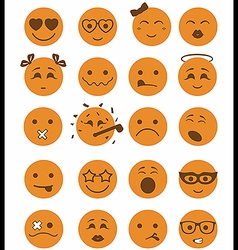 20 smiles icons set child orange color vector image