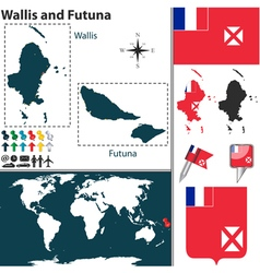 Wallis and futuna map vector