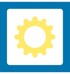 Gear flat yellow and white colors rounded button vector image