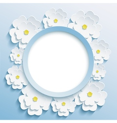 Round blue frame with 3d sakura vector image