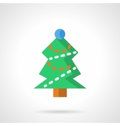 Green xmas tree flat color icon vector