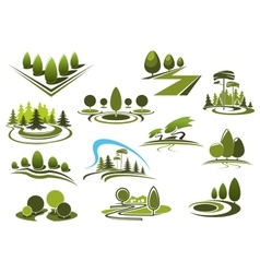 Green park garden and forest landscape icons vector