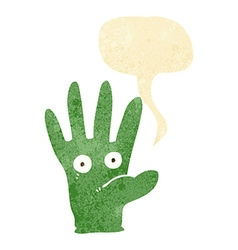 Cartoon hand with eyes with speech bubble vector