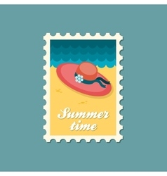Beach hat flat stamp summertime vector
