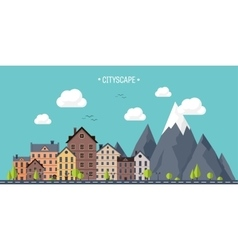 City in summer Urban landscape with mountains vector image vector image