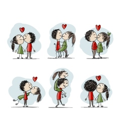 Couple in love kissing valentine sketch for your vector
