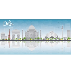 Delhi skyline with grey landmarks vector