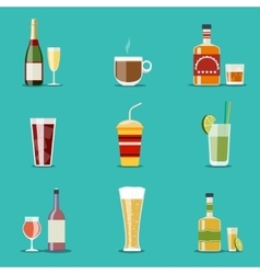 Drink flat icons alcohol and beer wine bottles vector