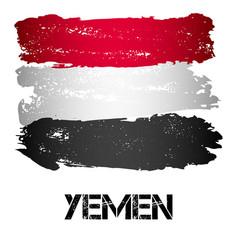 flag of yemen from brush strokes vector image vector image