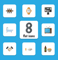 Flat icon life set of bureau television beer vector