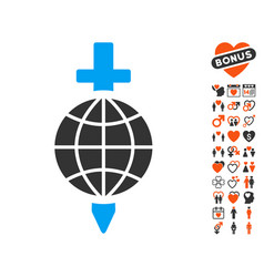 Global safety icon with valentine bonus vector