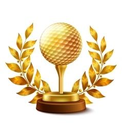 Golden golf award vector image vector image