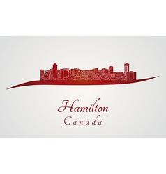 Hamilton skyline in red vector
