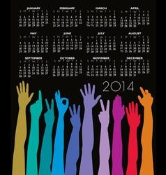 Hands 2014 calendar vector