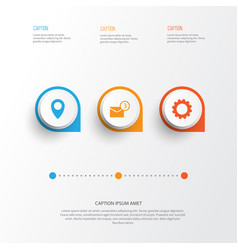 Internet icons set collection of inbox pin gear vector